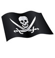 classic jolly roger pirate skull flag flying vector image