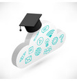cloud with graduation cap icons vector image vector image