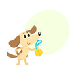 cute little dog puppy character champion holding vector image vector image
