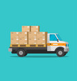 delivery truck with parcel cargo boxes vector image