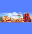 desert landscape with scared tiger and trash vector image vector image