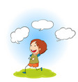 doodle boy with speech balloon vector image vector image