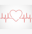 ekg with heart heartbeat ecg line monitor vector image
