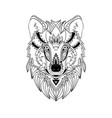 ethnic hand-drawn wolf face vector image