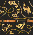 fabric seamless pattern with golden chains belts vector image vector image