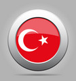 flag of turkey shiny metal gray round button vector image vector image