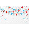 garlands of red white blue flags blue white and vector image vector image