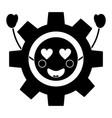 gear heart eyes kawaii icon ima vector image
