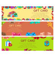 gift card colourful poster with frames and boxes vector image vector image
