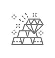 gold bars and diamond wealth line icon vector image