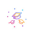 graduation caps line icon education sign vector image vector image