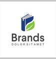 green leaf book logo design icon education logo vector image vector image