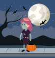 halloween and girl vector image