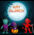 halloween background cute little kids with costum vector image vector image