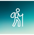 Hiking exercise thin line icon vector image vector image