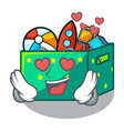 in love kids toys in the cartoon box vector image