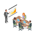Isometric 3d of business presentation or meeting vector image vector image