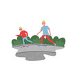 kid and his young father riding skateboards vector image