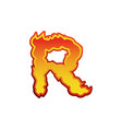 letter r fire flames font lettering tattoo vector image vector image