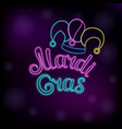 mardi gras neon text jester hat new orleans vector image