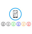 mobile navigation route rounded icon vector image