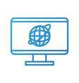monitor screen world connection social media vector image vector image