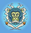 monkey weed smoking cigarette vector image