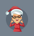 mrs claus holding thumbs up celebrating christmas vector image vector image