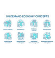 on demand economy e commerce concept icons set