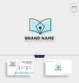 pen book learning line logo template vector image vector image