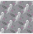 Seamless pattern with feathers and beads on grey vector image