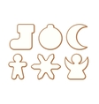 Set 5 of Christmas and New year gingerbread with vector image vector image
