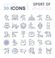 set line icons sport athletics vector image