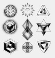 set of impossible and other tattoo shapes dotwork vector image