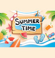 summer time with paper cut symbol icon vector image vector image