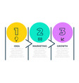three steps business infograph in line style vector image vector image