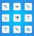 tools icons colored set with wrench scissors vector image