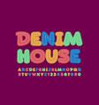 trendy logo denim house colorful jeans alphabet vector image