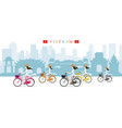 vietnamese women with conical hat ride bicycles vector image vector image