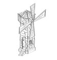windmill vintage building hand drawn sketch vector image
