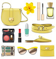 yellow fashion accessories vector image vector image
