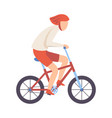 young man in helmet riding bicycle cycling guy vector image vector image