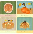 Happy Thanksgiving retro cards vector image