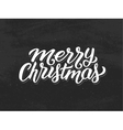 Merry Christmas hand lettering on chalkboard vector image