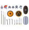 set of ancient weapon and protective equipment vector image
