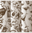 alcoholic cocktails sketch pattern with vector image