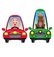 animals in car pig and horse vector image vector image