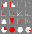 Applied graph icons on gray background vector image vector image