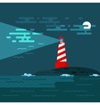 background with lighthouse sea waves an night vector image