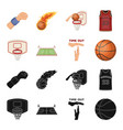 basketball and attributes blackcartoon icons in vector image vector image
